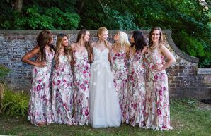 Fuchsia Protea Print Bridesmaid Dresses