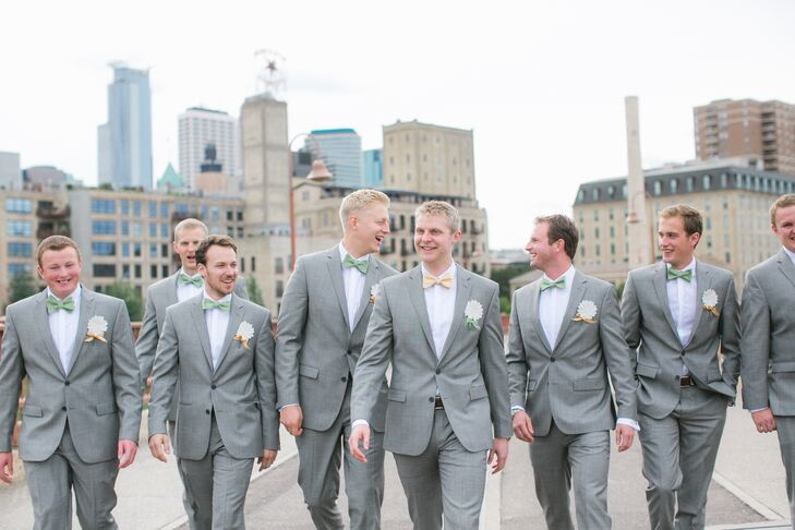 The groomsmen wore classy light grey suits with brown wingtip shoes. They  added on mint e7960ab17eae