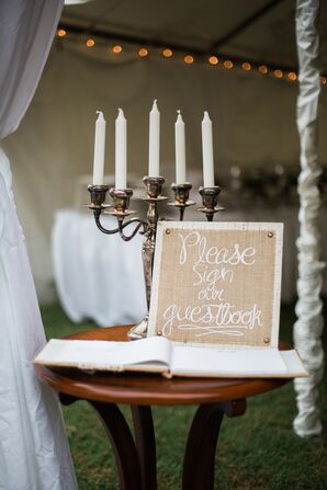 Vintage Candle Holder and Guestbook