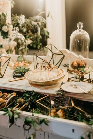 Pie on Vintage Cake Table with Custom Topper, Geometric Decor and Succulents