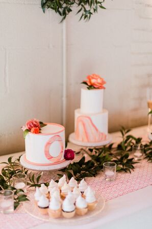 Modern Cakes with Pink and Orange Marbled Fondant