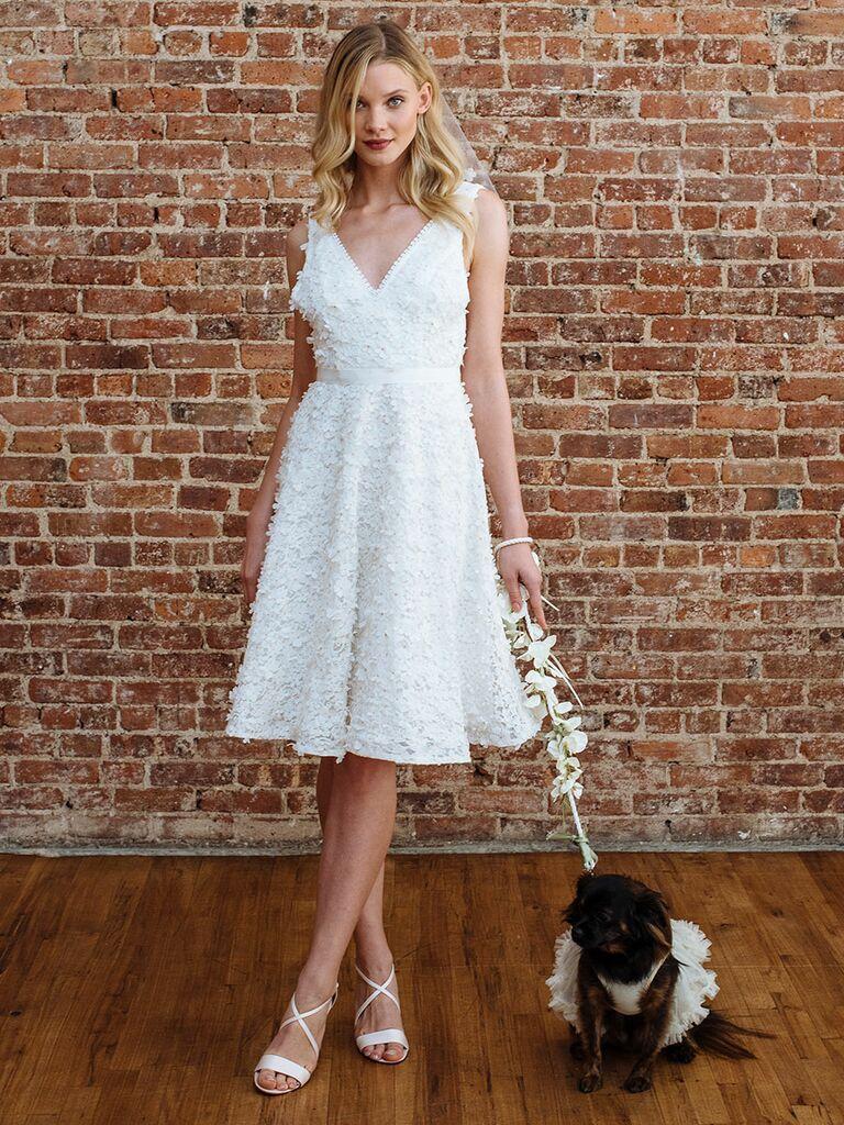 Db Studio By David S Bridal Fall 2018 Beaded Knee Length Tail Dress