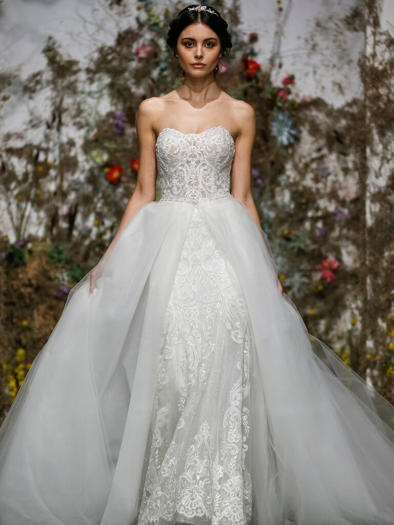 Morilee by Madeline Gardner Spring 2020 strapless wedding dress with tulle train