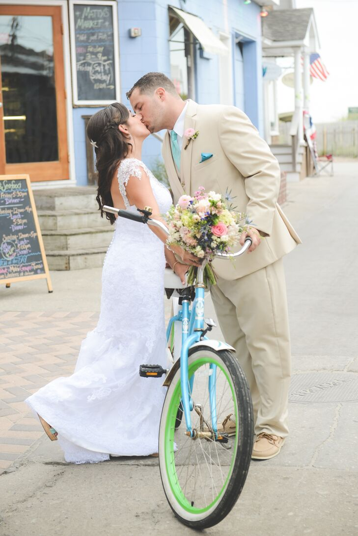 Caitlin and Tom Fire Island Wedding Photos with Bike