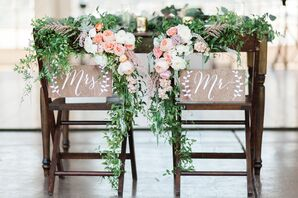 Romantic Blush and Peach Floral Accents at Reception