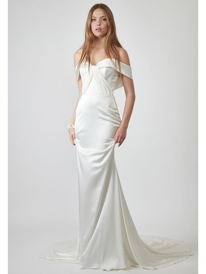 Lihi Hod Couture silk off-the-shoulder trumpet wedding dress
