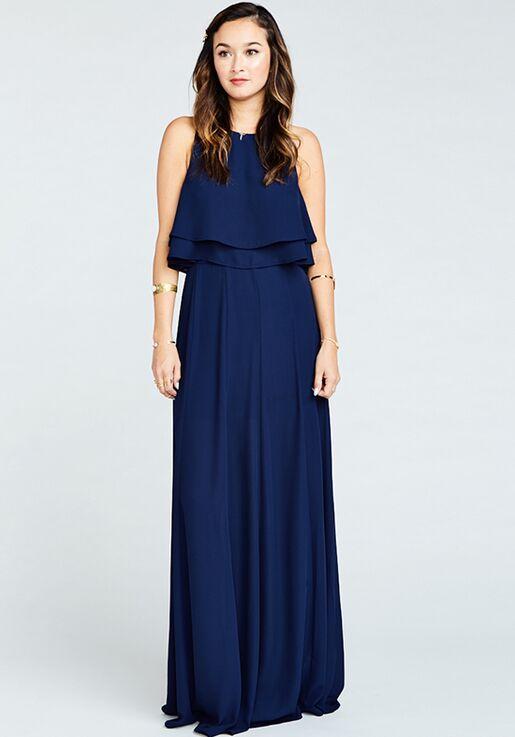 8fff5b6227382 Show Me Your Mumu King Crop Top - Rich Navy Crisp Halter Bridesmaid Dress