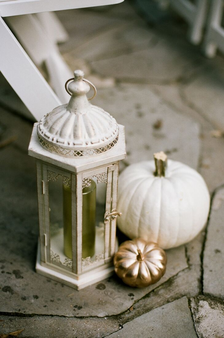 To bring a dash of autumnal flair to the lush garden at CJ's Off the Square, Ashley and Sean lined the aisles with gold and white painted pumpkins.