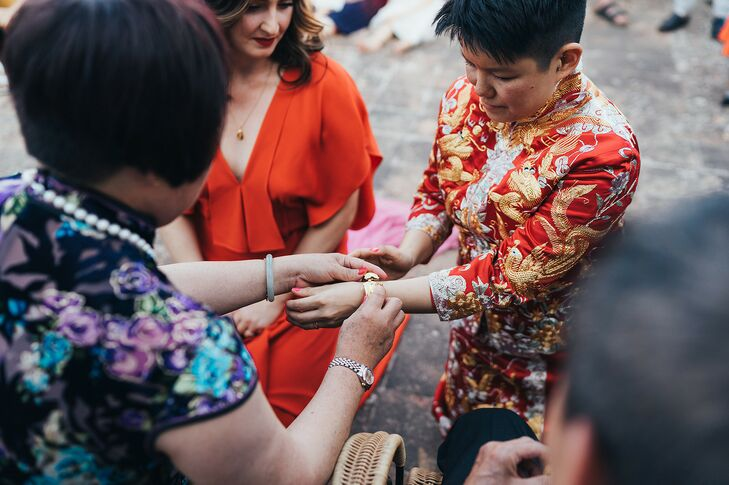 Bride Receiving Jewelry During Traditional Chinese Tea Ceremony