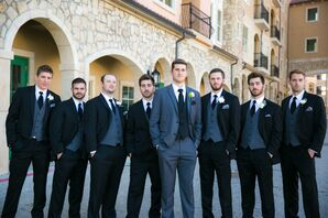 Gray and Black Groomsmen Attire