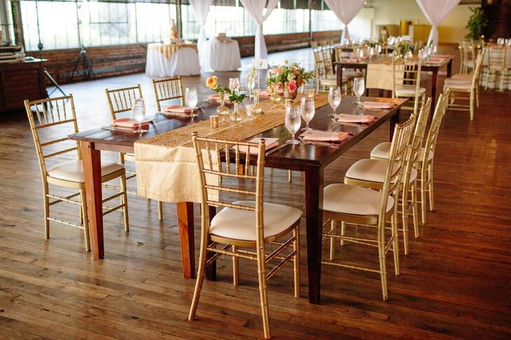 Elegant Gold Table Runner with Gold Chiavari Chairs