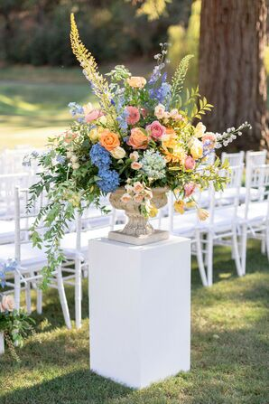 Colorful Aisle Flower Arrangement with Vase on Pedestal