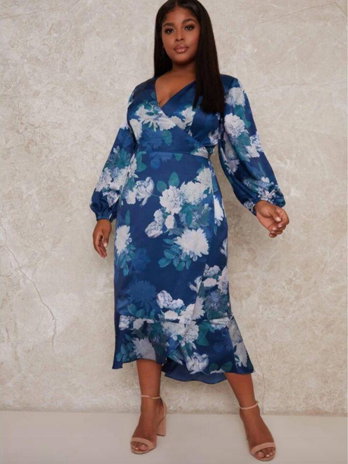 Plus size blue floral midi dress