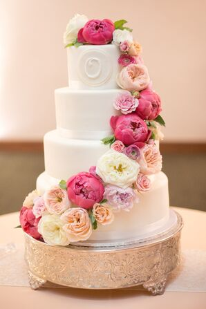 Cascading Ranunculus and Peony Wedding Cake