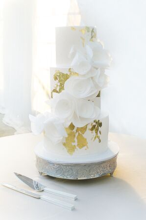 Gold Flecked Round Tiered Wedding Cake with White Fondant Flowers