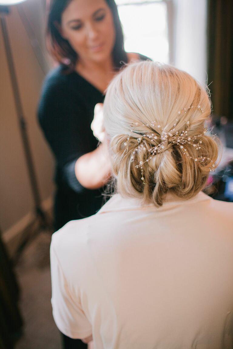 Wedding updo beaded headpiece