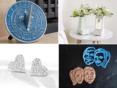 Collage of four 25th anniversary gift ideas