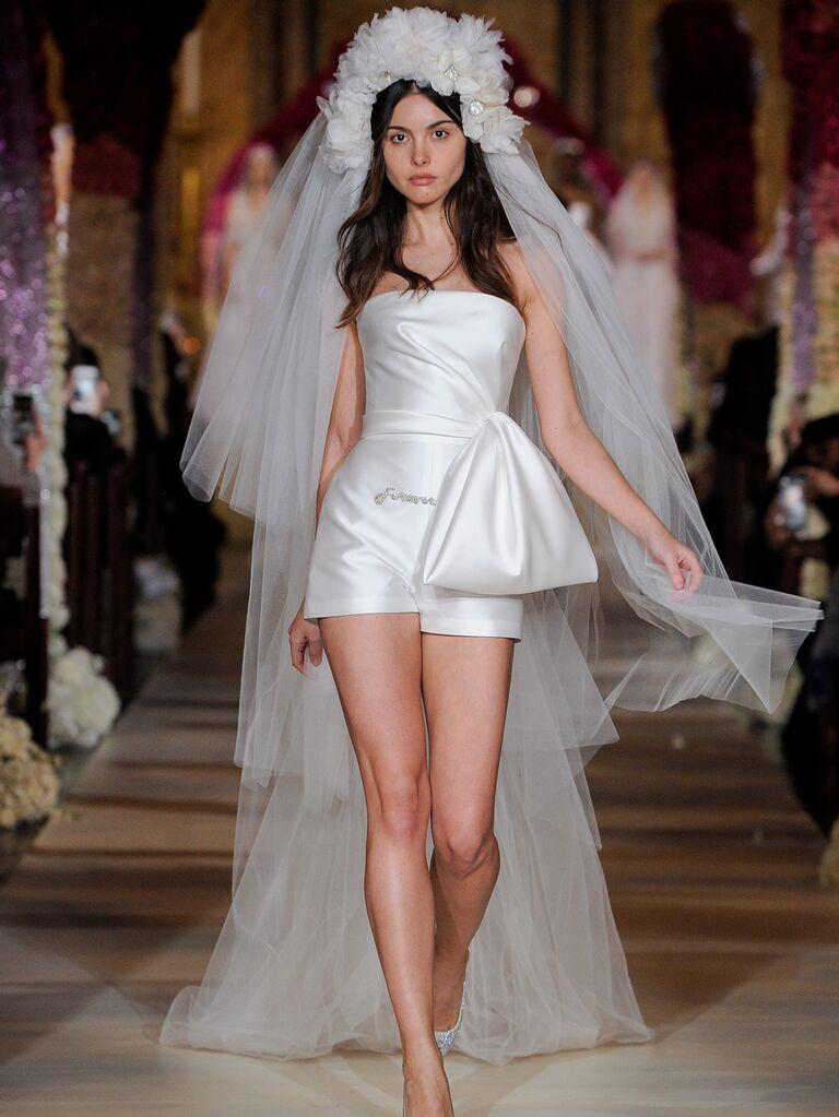 Reem Acra Spring 2020 Bridal Collection strapless asymmetrical bridal playsuit