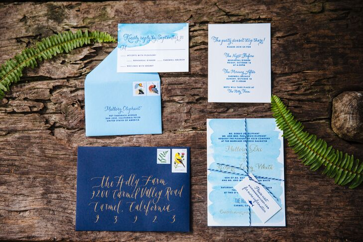 The island theme started with a beautiful watercolor letterpress invitation suite in tropical shades of blue, complete with a classy custom marlin silhouette in homage to Richie, a fishing boat captain.