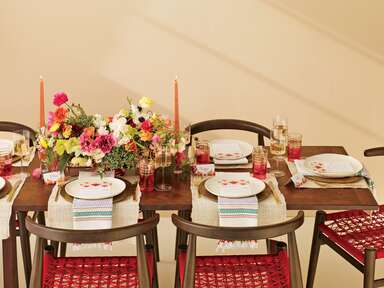 Bright colored Southwest wedding table setting