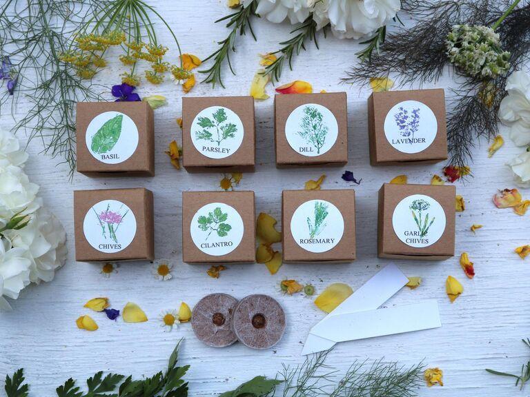 Kits de fines herbes de faveurs de mariage écologiques