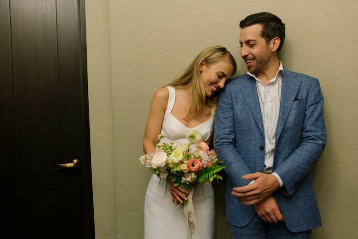 Megan Ford and Bora Goekbora had a casual wedding that highlighted the beauty of the Brooklyn waterfront. Megan wore a short, simple dress, which comp