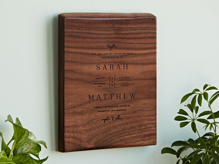 Wooden wedding invitation keepsake sixth anniversary wood gift idea