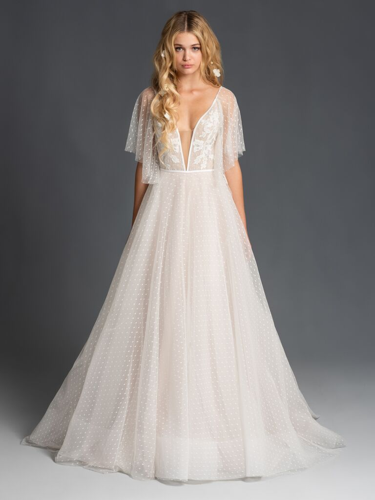Blush by Hayley Paige Fall 2019 polka-dot lace A-line wedding dress with flutter sleeves