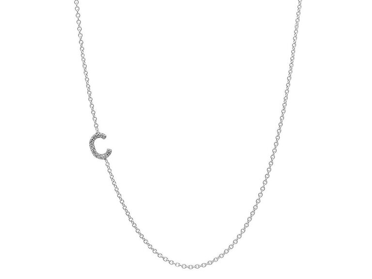 Diamond initial necklace wedding gift for bride