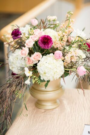Romantic, Rustic Hydrangea and Rose Arrangement
