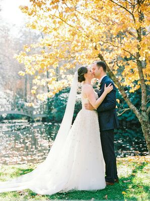 Elegant Couple in Ball Gown and Blue Suit at Old Edwards Inn & Spa in Highlands, North Carolina