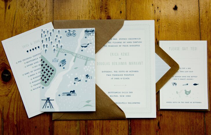 We kept them simple and playful—two cute llamas (prominent residents at the inn!) graced our save-the-dates as well as our kraft envelopes. We especially loved the quirky and sweet little map that included places we love to visit in the surrounding area of our wedding, Erica says of her invitations.