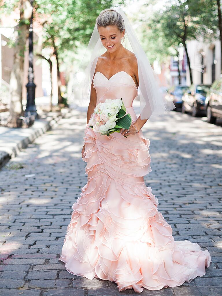 The prettiest blush and light pink wedding gowns strapless blush pink wedding gown by leanne marshall junglespirit Image collections