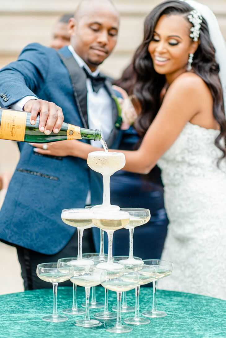 Champagne Tower During Wedding at The River View at Occoquan in Lorton, Virginia