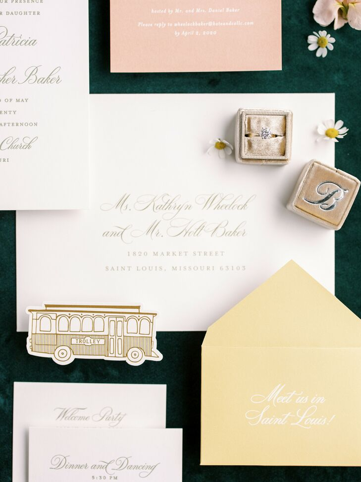 Formal Invitation for Wedding at The Caramel Room in St. Louis, Missouri