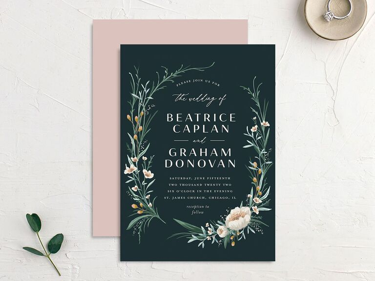 Rustic wreath wedding invitation