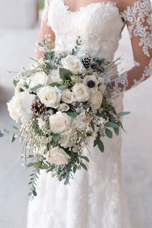 Wintery White Rose, Pine Cone and Silver Brunia Bouquet