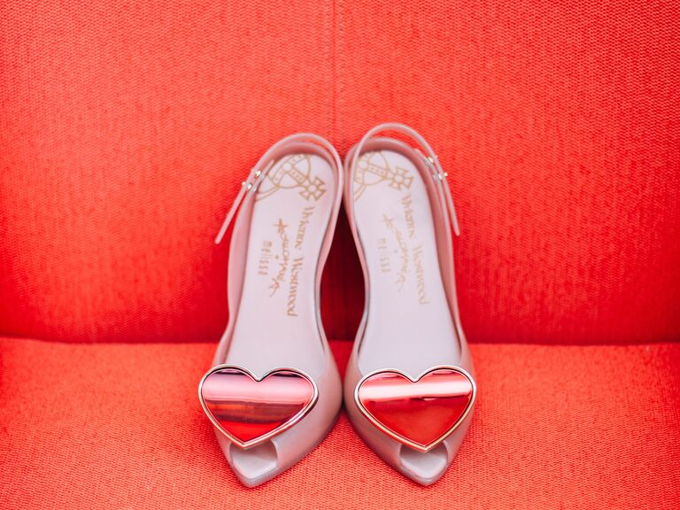heart detail wedding shoes