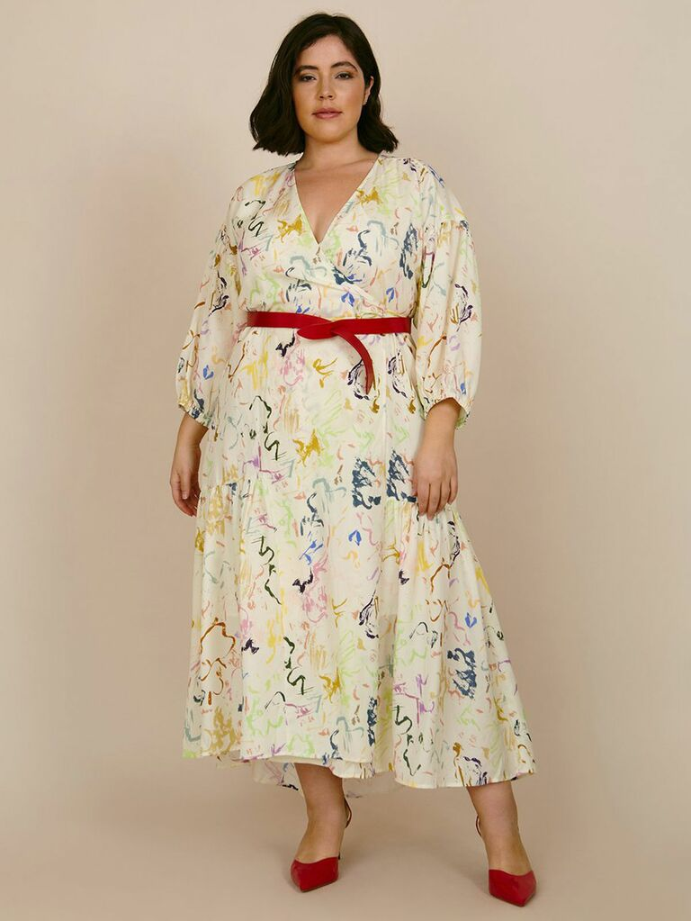 wrap dress with colorful abstract print