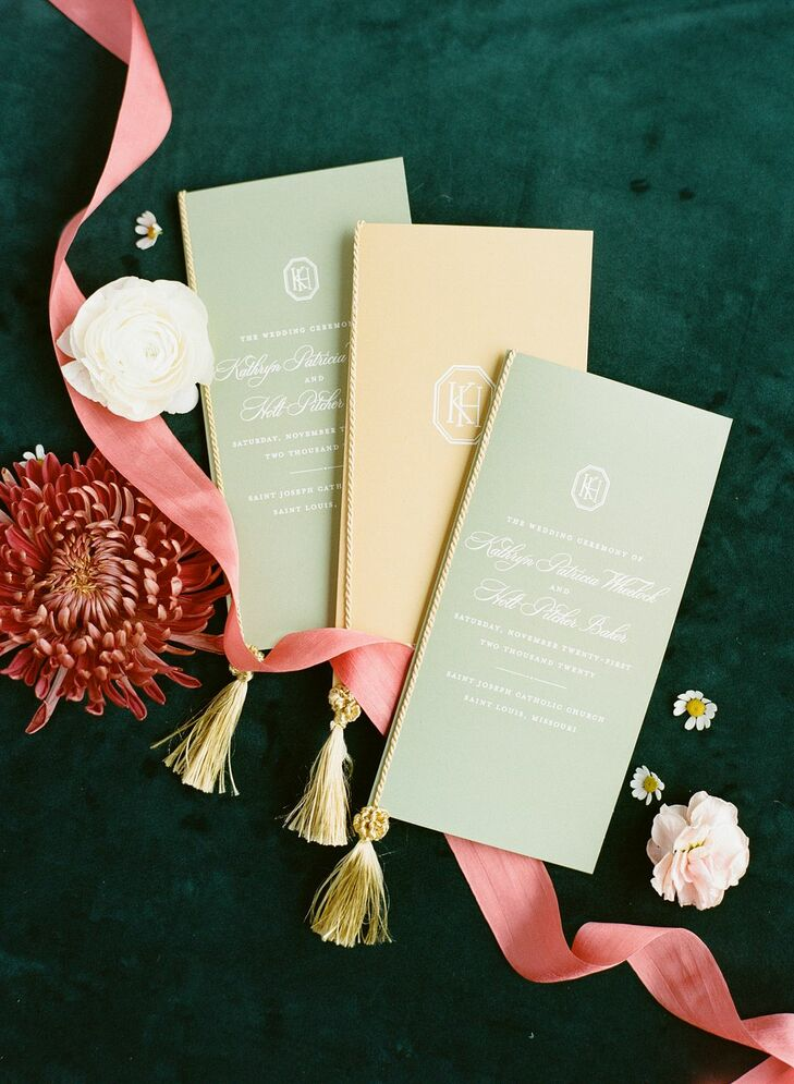 Pastel Wedding Programs for St. Louis Ceremony