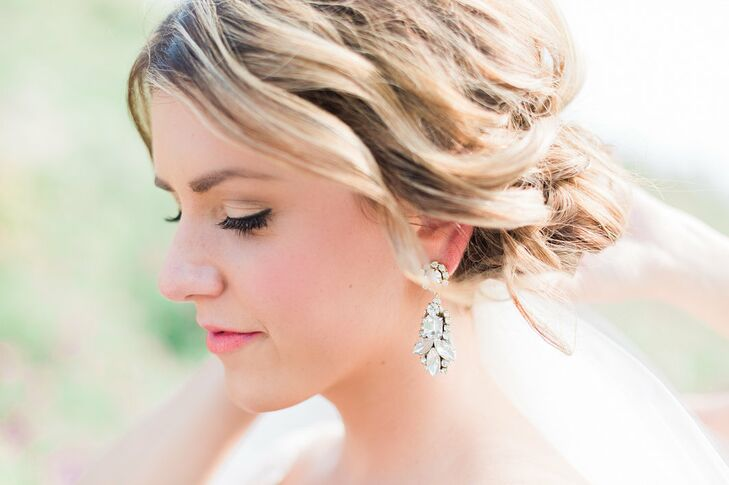 The bride wore a pair of vintage-inspired (and Italian handcrafted) earrings from BHLDN.