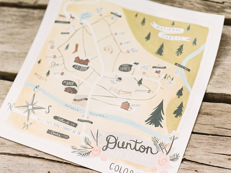 Illustrated map of Colorado for wedding guests