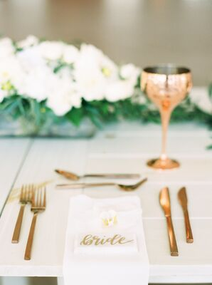 Minimal Tropical Place Setting with Lily and Gold Flatware