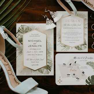 tropical invitation suite with accessories