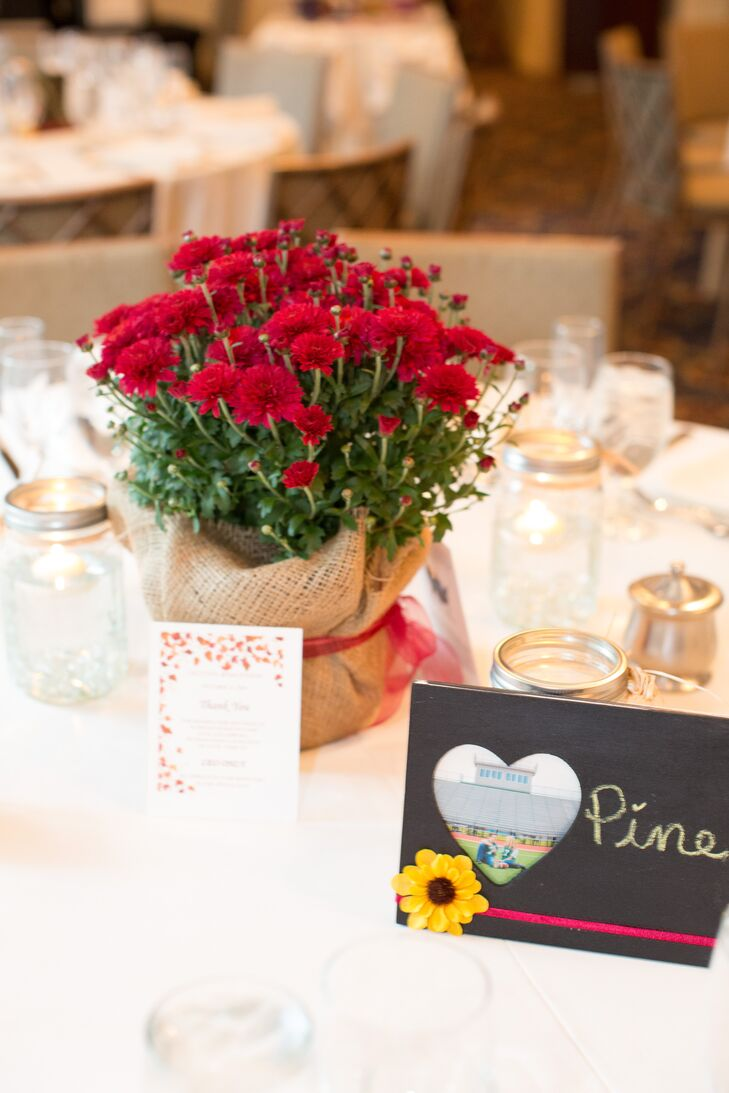 Red Mums Centerpieces