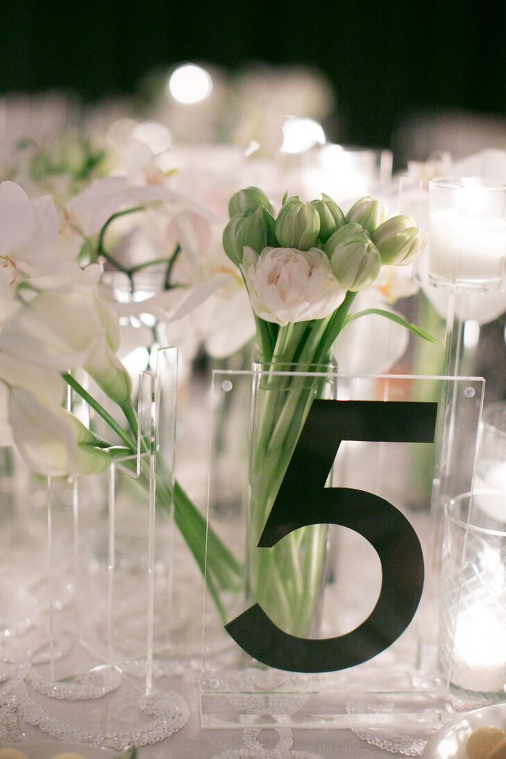 Acrylic Table Number with Bold, Modern Black Typography