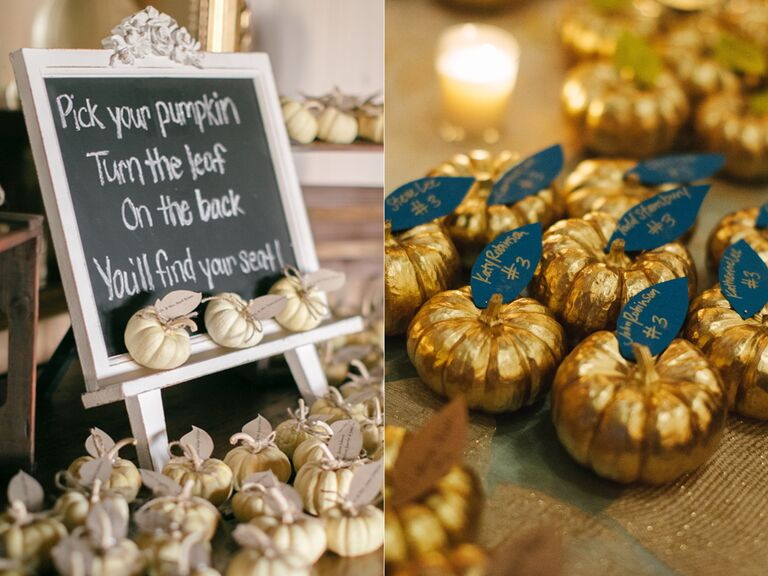 Mini pumpkin escort card displays