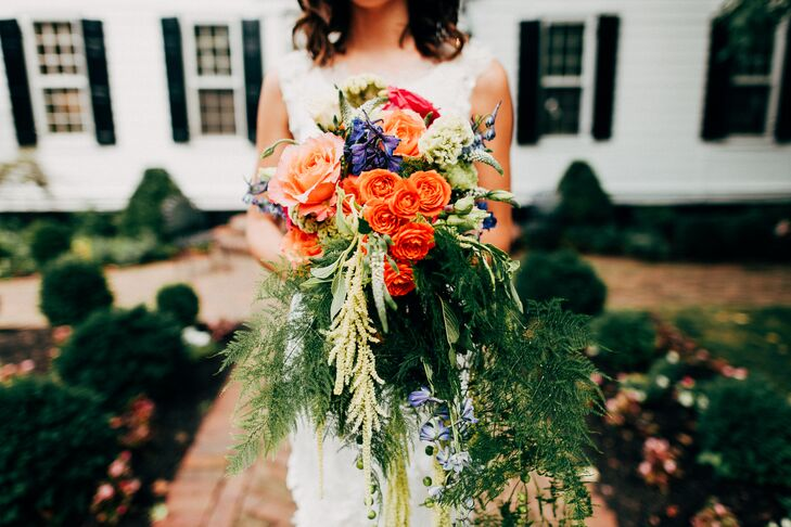 Dramatic Bright Cascading Fern and Rose Bouquet