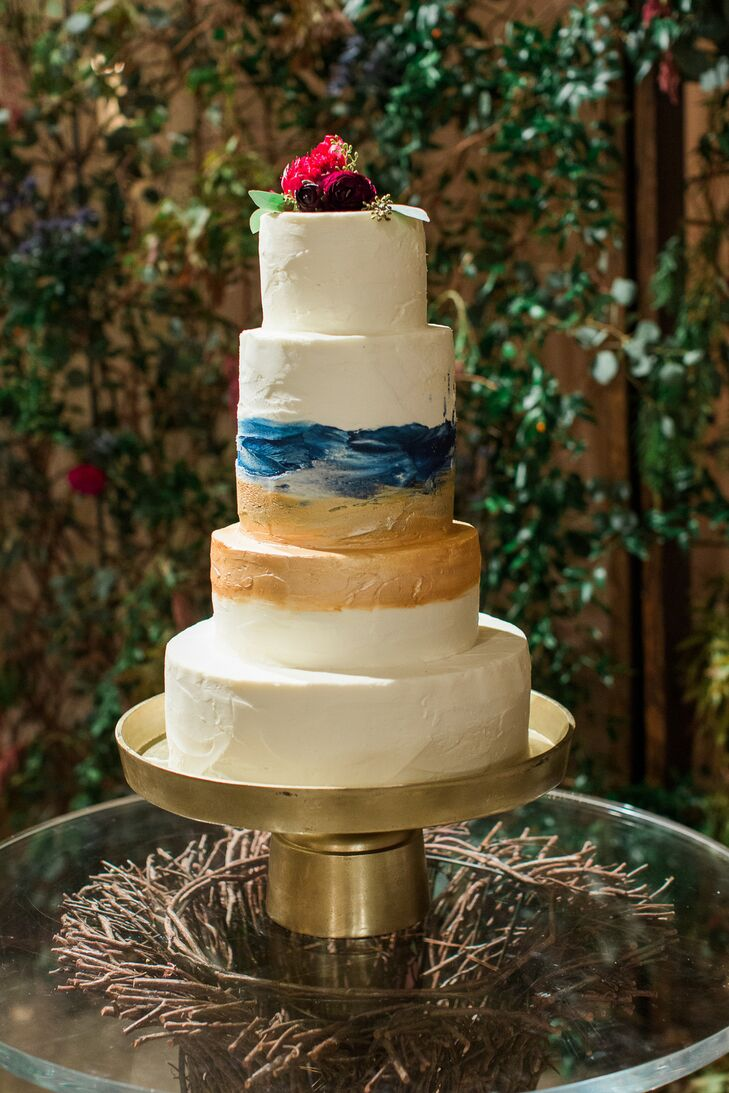 Navy, Gold and White Wedding Cake with Gold Base