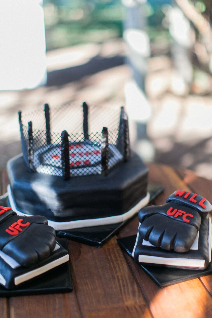 William was treated to a UFC-themed groom's cake, complete with personalized gloves.
